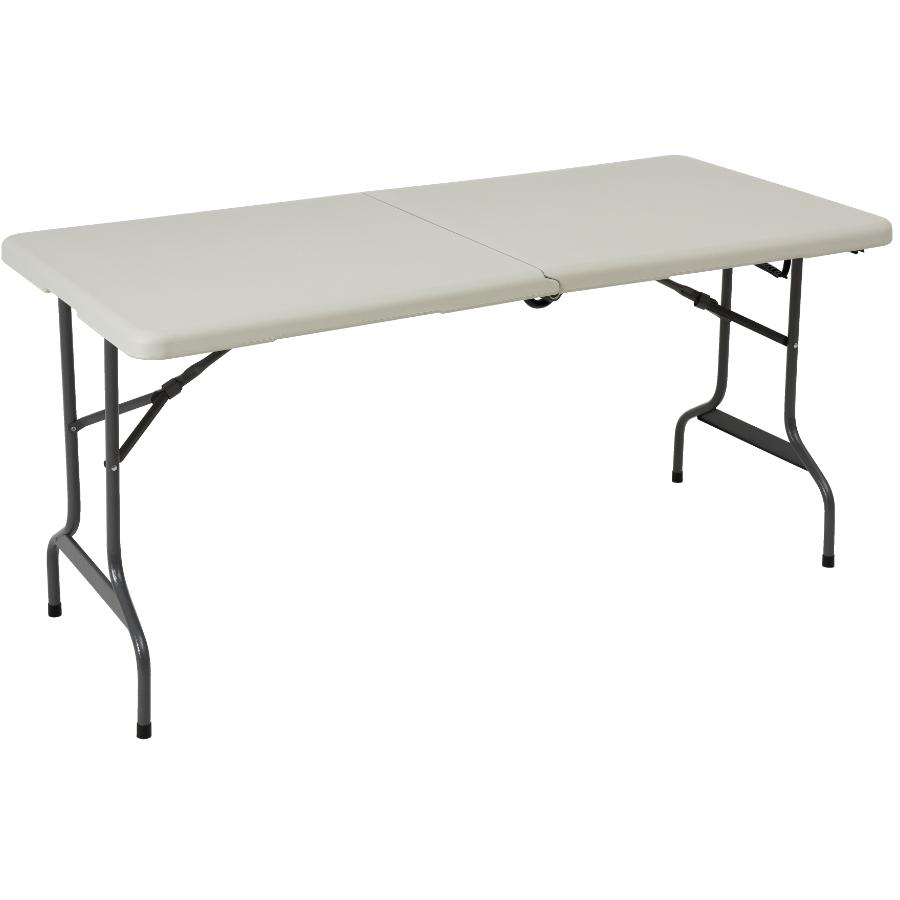 "Enduro 60"" x 28"" White Plastic Rectangular Folding Table, with Wheels"