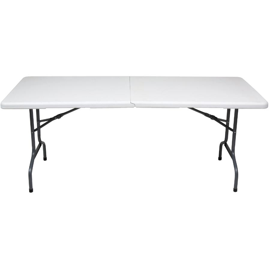 "Enduro 72"" x 30"" White Deluxe Plastic Rectangular Centerfolding Table"