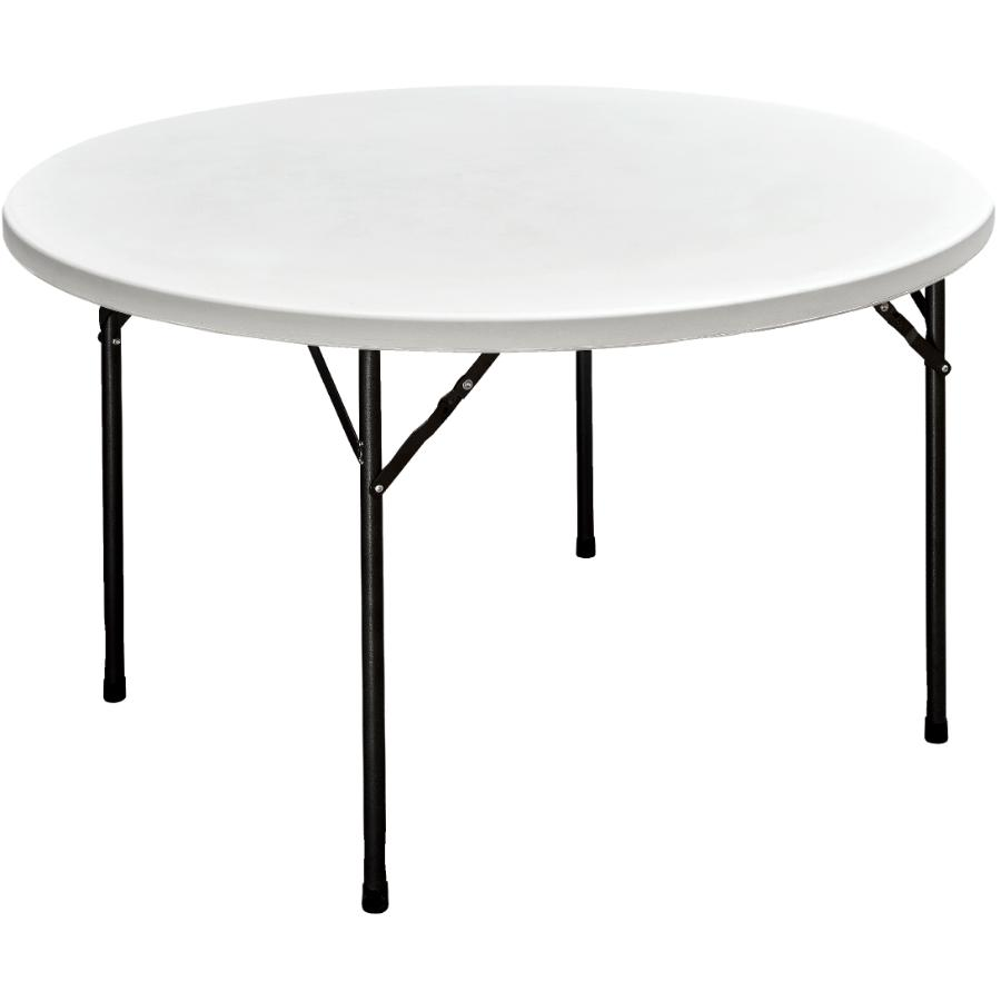 "Enduro 48"" Round White Plastic Folding Table"