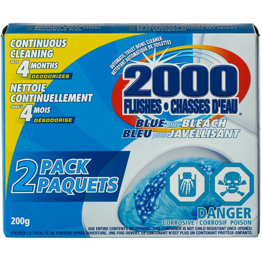 2000 Flushes 2 Pack Blue Plus Bleach Toilet Bowl Cleaner