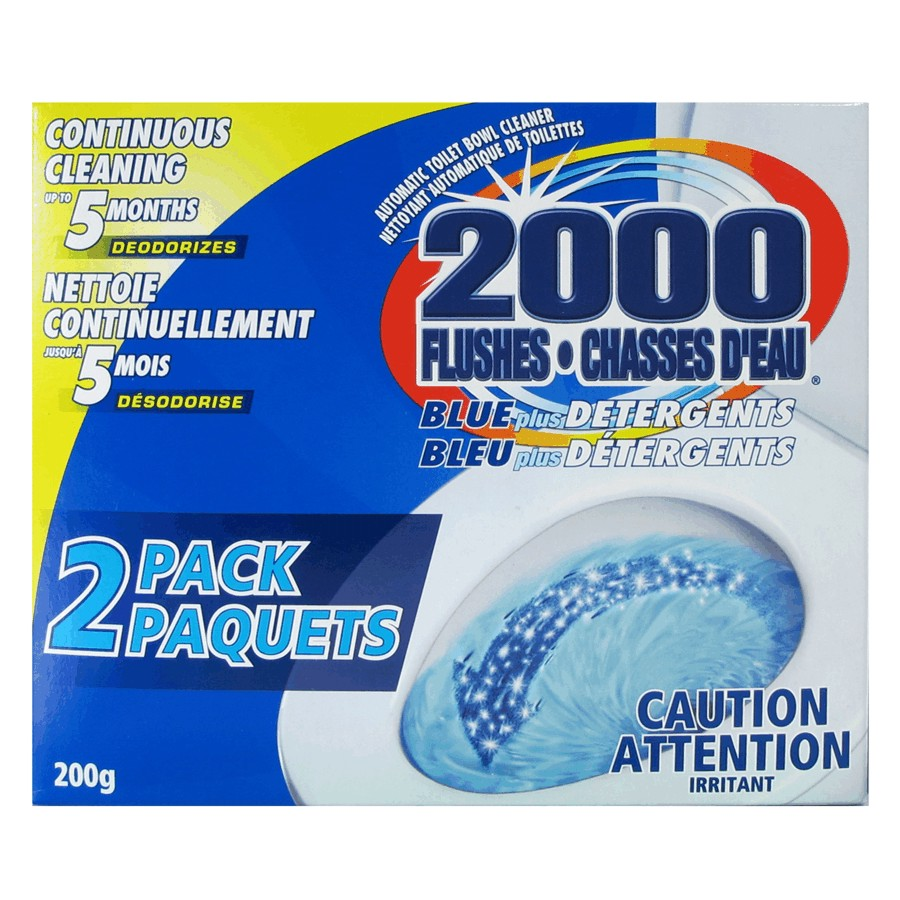2000 Flushes: 2 Pack Blue Plus Detergent Toilet Bowl Cleaner