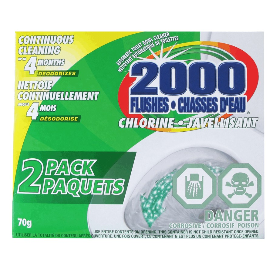 2000 Flushes: 2 Pack Chlorine Toilet Bowl Cleaner