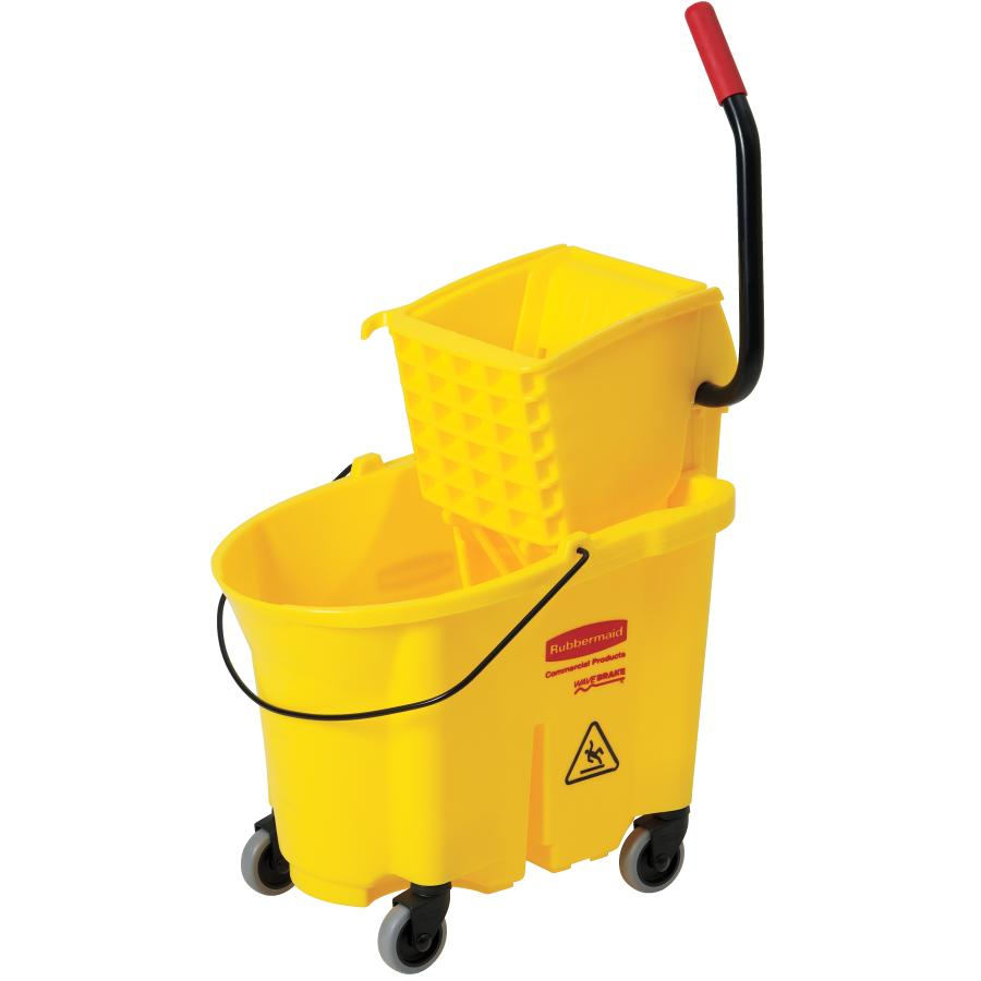 Rubbermaid 35 Quarts WaveBraker Industrial Yellow Mop Pail and Wringer System