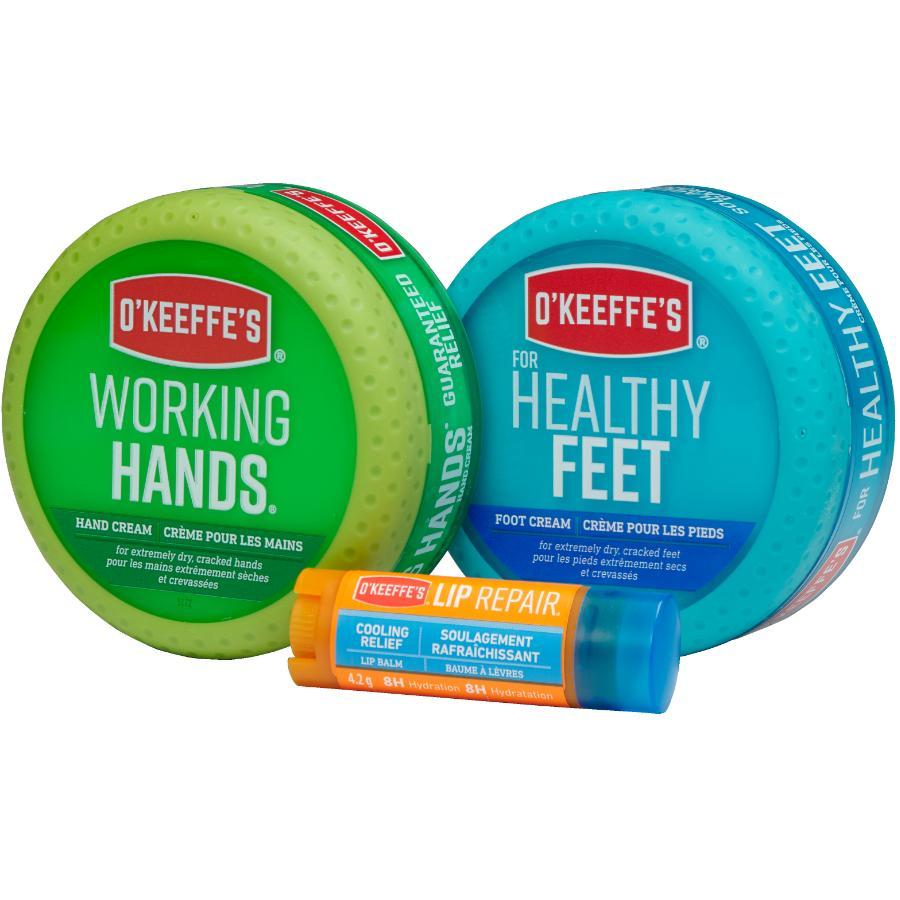 O'keeffe's 3 Piece Value Pack Working Hands, Feet Repair, Lip Repair Creams