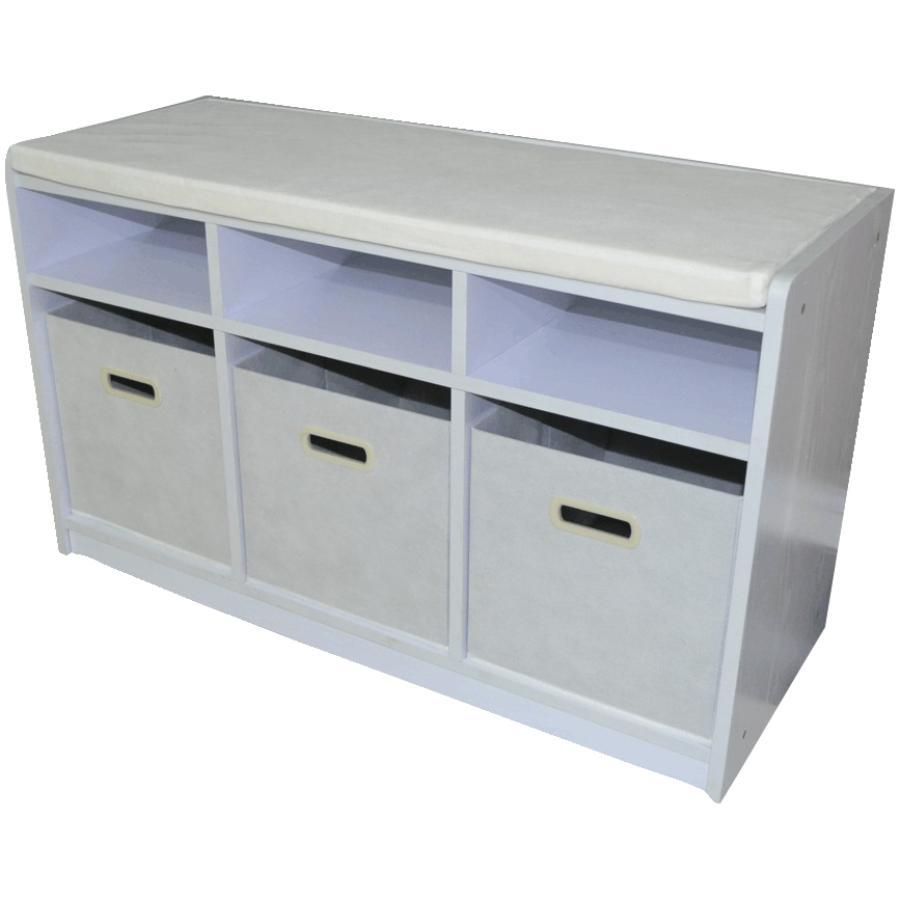 HOME STORAGE White 3 Cube Storage Bench
