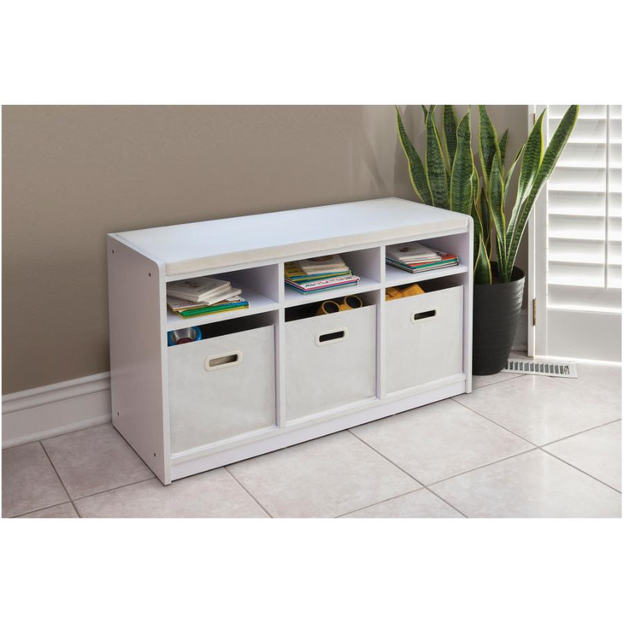 Home Storage White 3 Cube Storage Bench Fennell Amp Gage