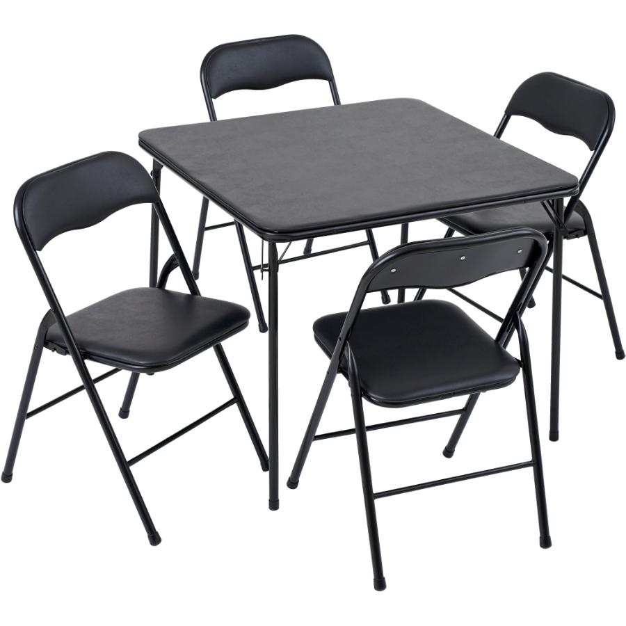 GENERIC 5 Piece Black Folding Chairs and Table Set