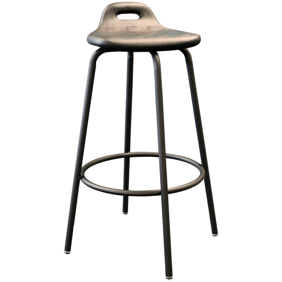 "Generic 31"" Heavy Duty Black Metal Work Stool, with Footring"