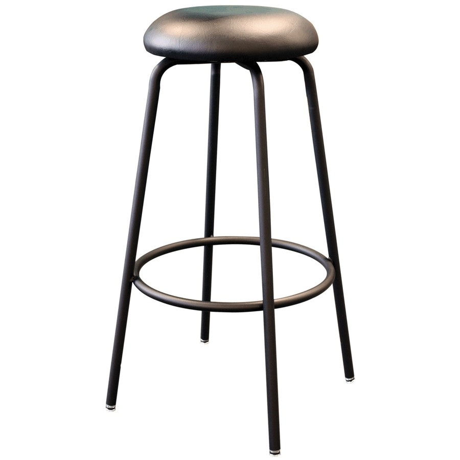 "Generic 31"" Heavy Duty Metal Work Stool, with Upholstered Seat and Footring"
