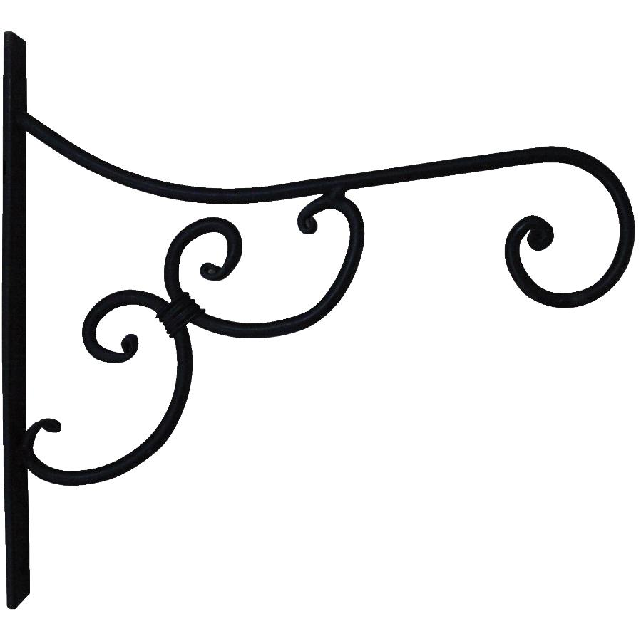 "Home Gardener 11"" Black Metal Planter Bracket, with Scroll Design"