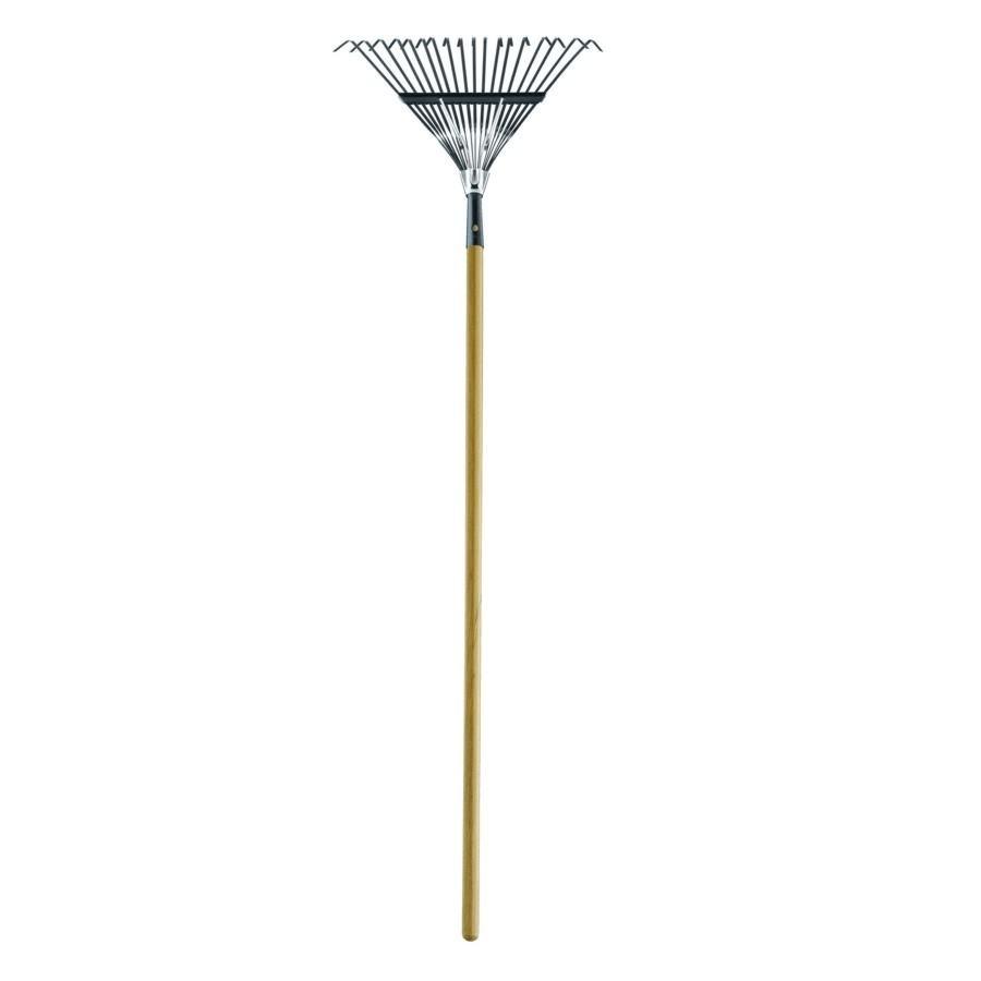 "Home Gardener 18 Tines 18"" Spring Braced Fan Rake, with 48"" Handle"