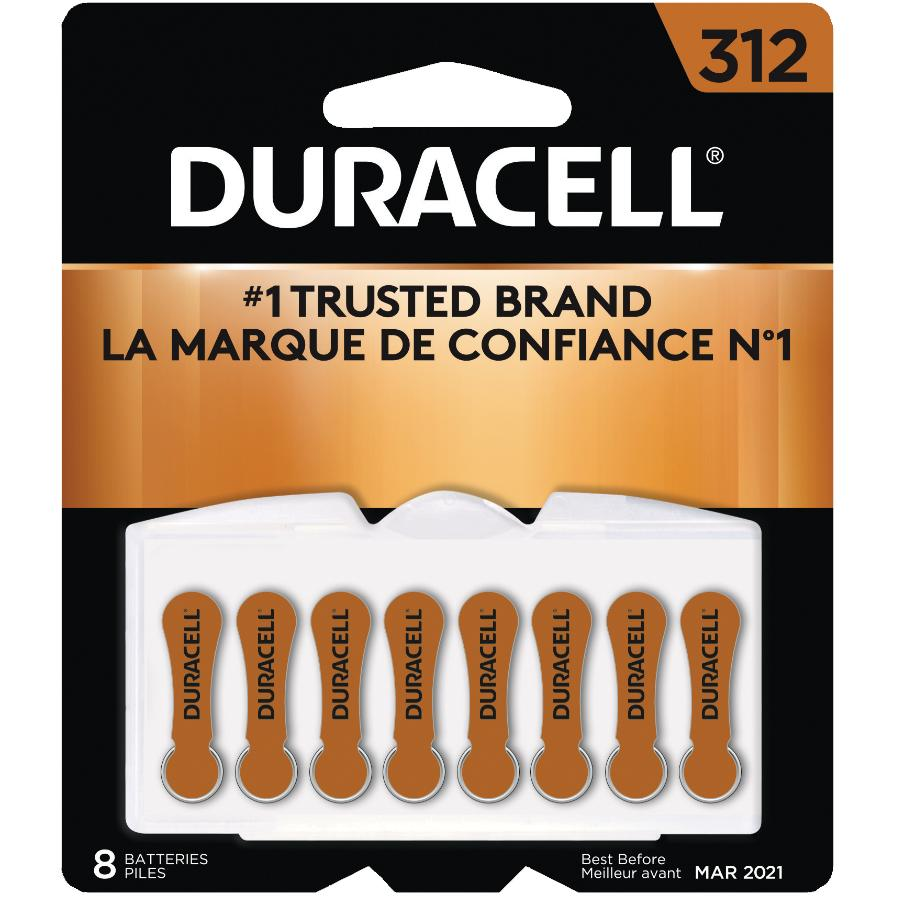 DURACELL 8 Pack Size 312 Zinc Air Hearing Aid Batteries