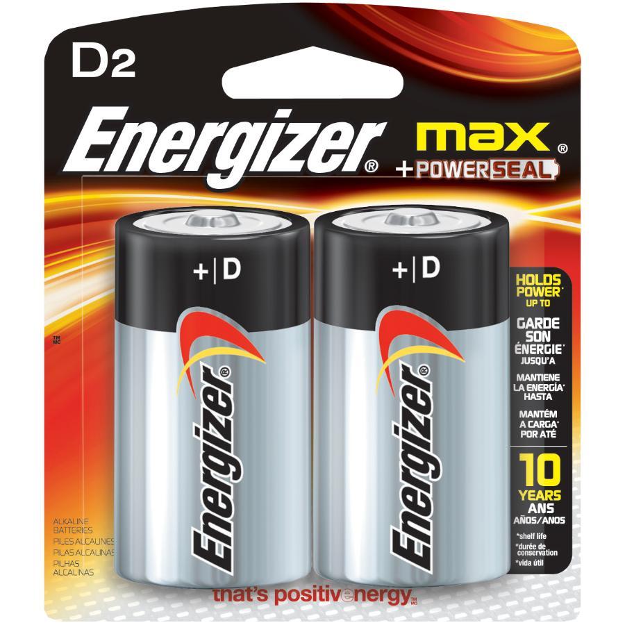 Energizer 2 Pack Max Alkaline D Batteries