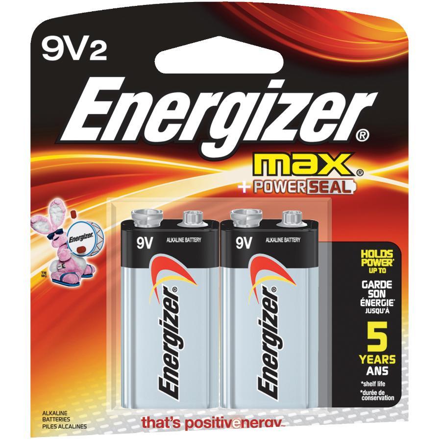 Energizer 2 Pack Max Alkaline 9 Volt Batteries