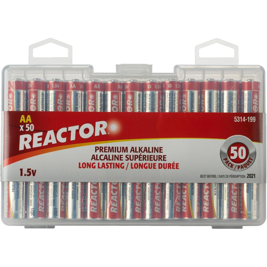 Reactor 50 Pack Alkaline AA Batteries