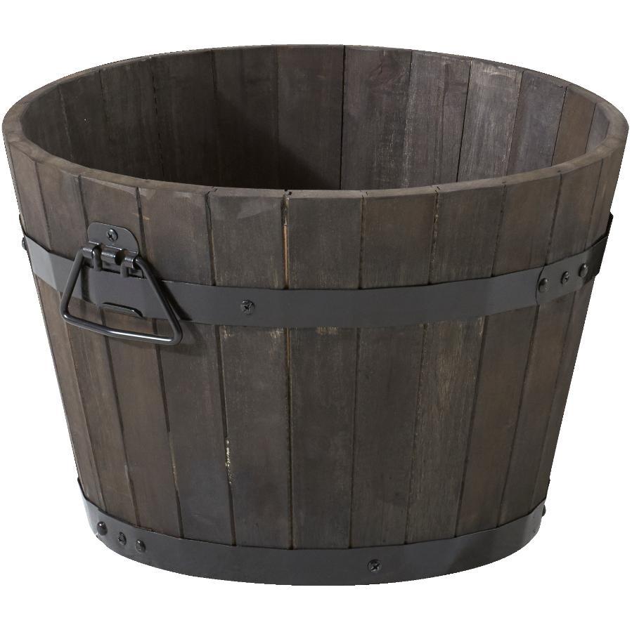 "Home Gardener 18"" Acacia Wood Barrel Planter"