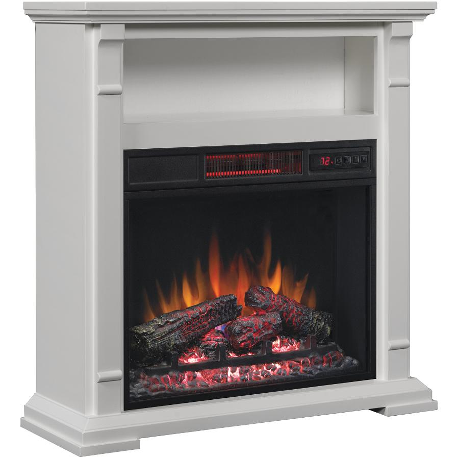 CLASSIC FLAME: White Electric Fireplace with Open Storage Space