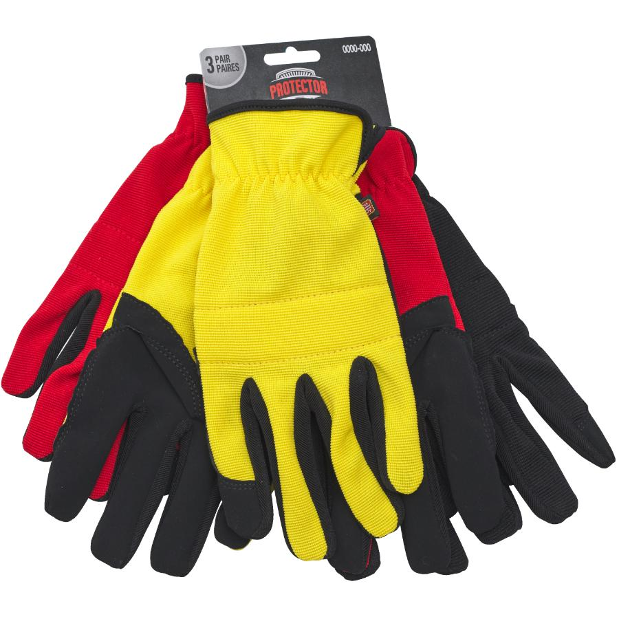 Protector 3 Pair Pack Large Synthetic Leather and Spandex Mechanics Work Gloves