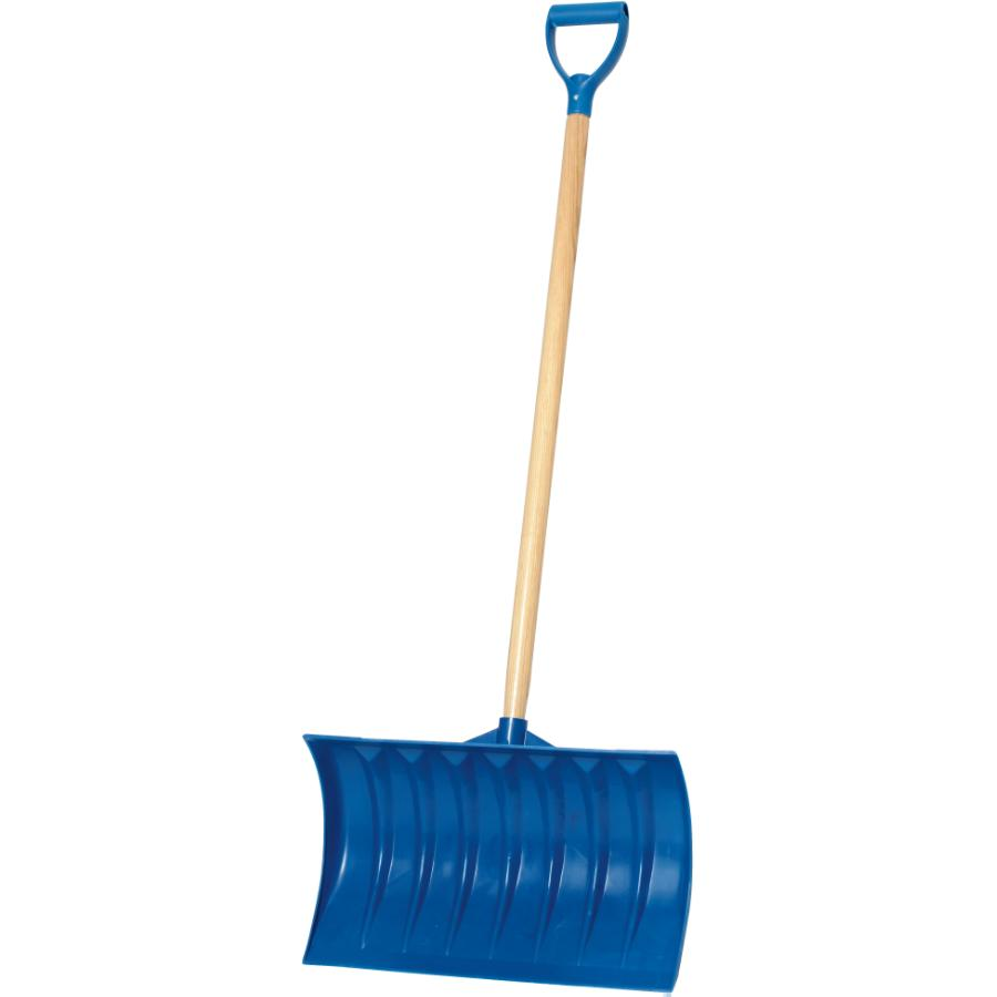 """Snow Mover: 21"""" Blue Poly Blade 40"""" Handle Snow Pusher"""