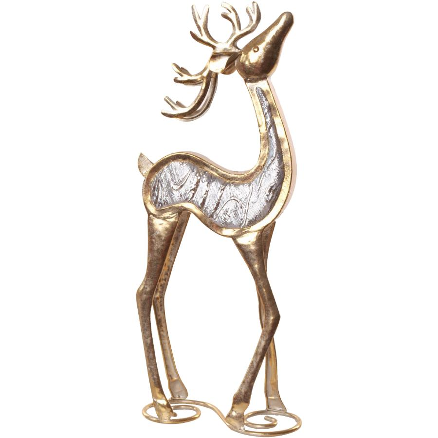"""Instyle Holiday 17"""" Gold Metal Head Up Deer Figure, with Jewels"""