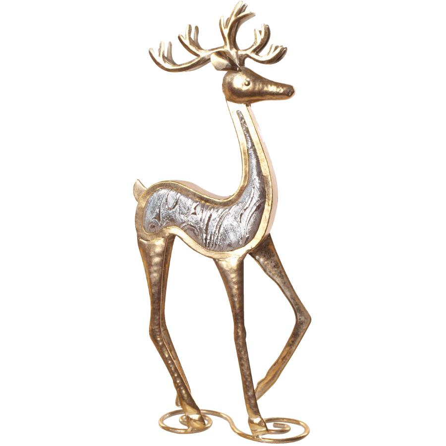"""Instyle Holiday 17"""" Gold Metal Standing Deer Figure, with Jewels"""