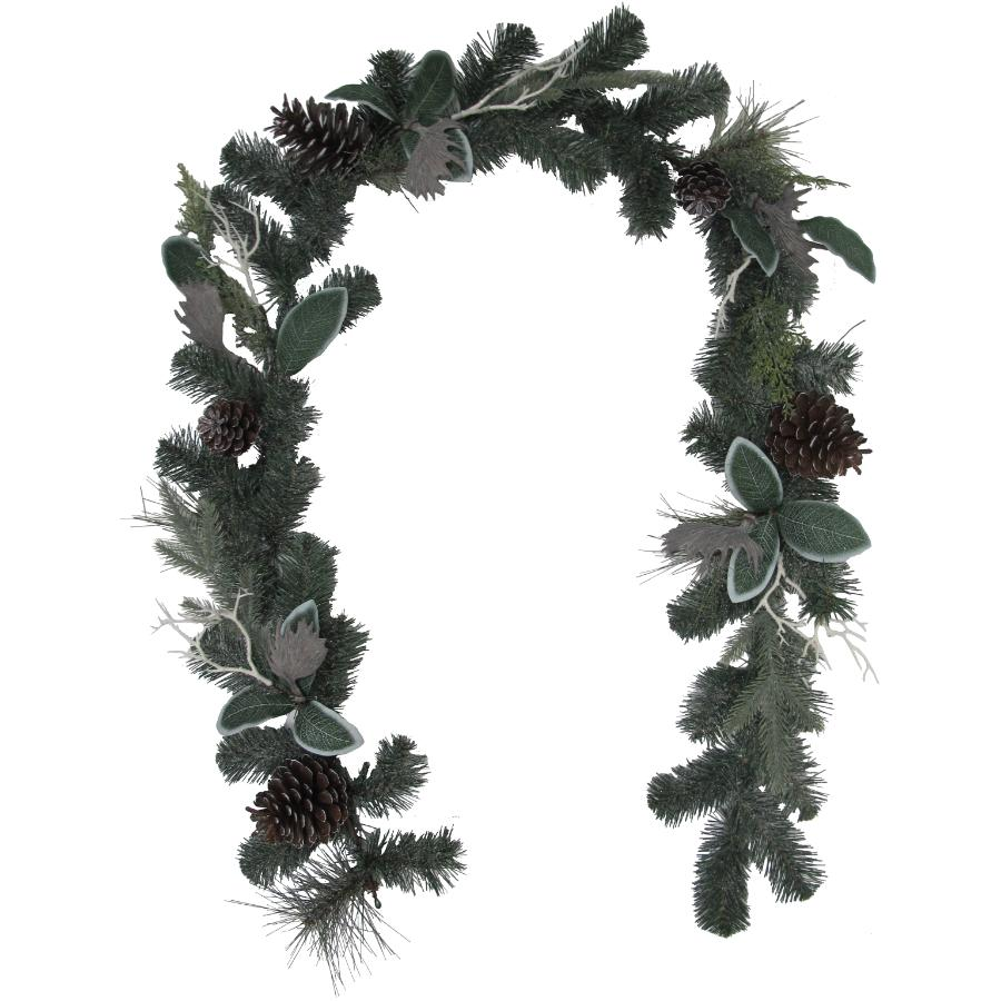 Instyle Holiday 6' Decorated Moose Antler and Berry Frosted Pine Garland