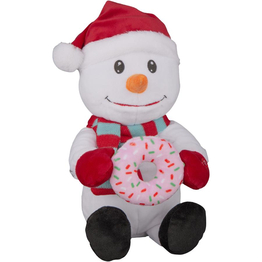 Gemmy Plush Animated Nom Nom Snowman with Donut Figure