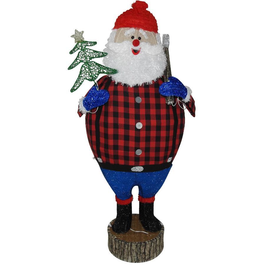 """Instyle Holiday 48"""" Fabric Lumberjack Santa Lit Frame"""