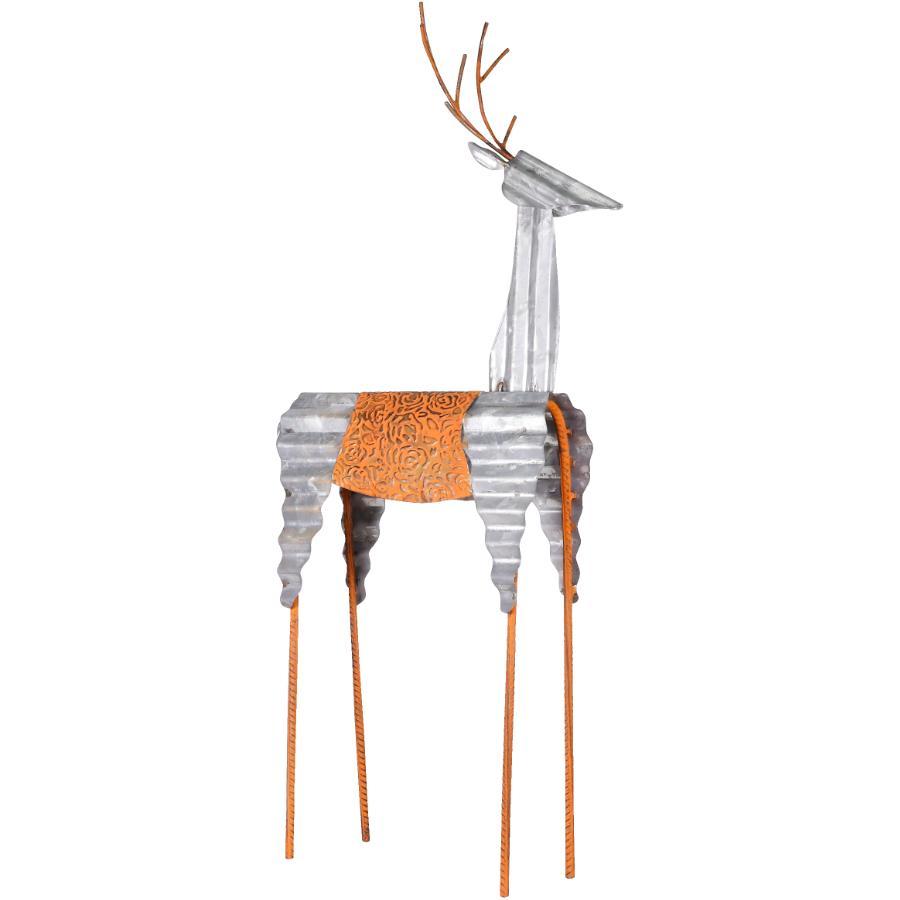 """Alpine 30"""" Galvanized Metal Deer Figure"""