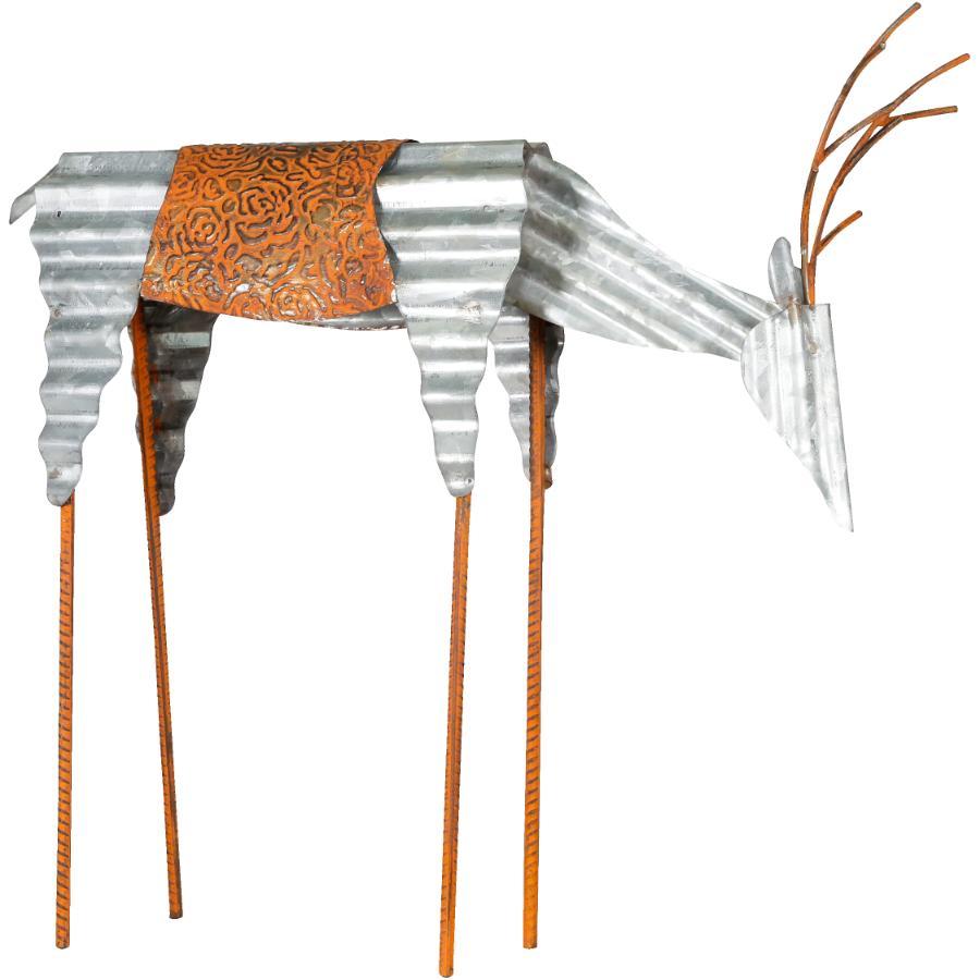 """Alpine 20"""" Galvanized Metal Deer Figure"""
