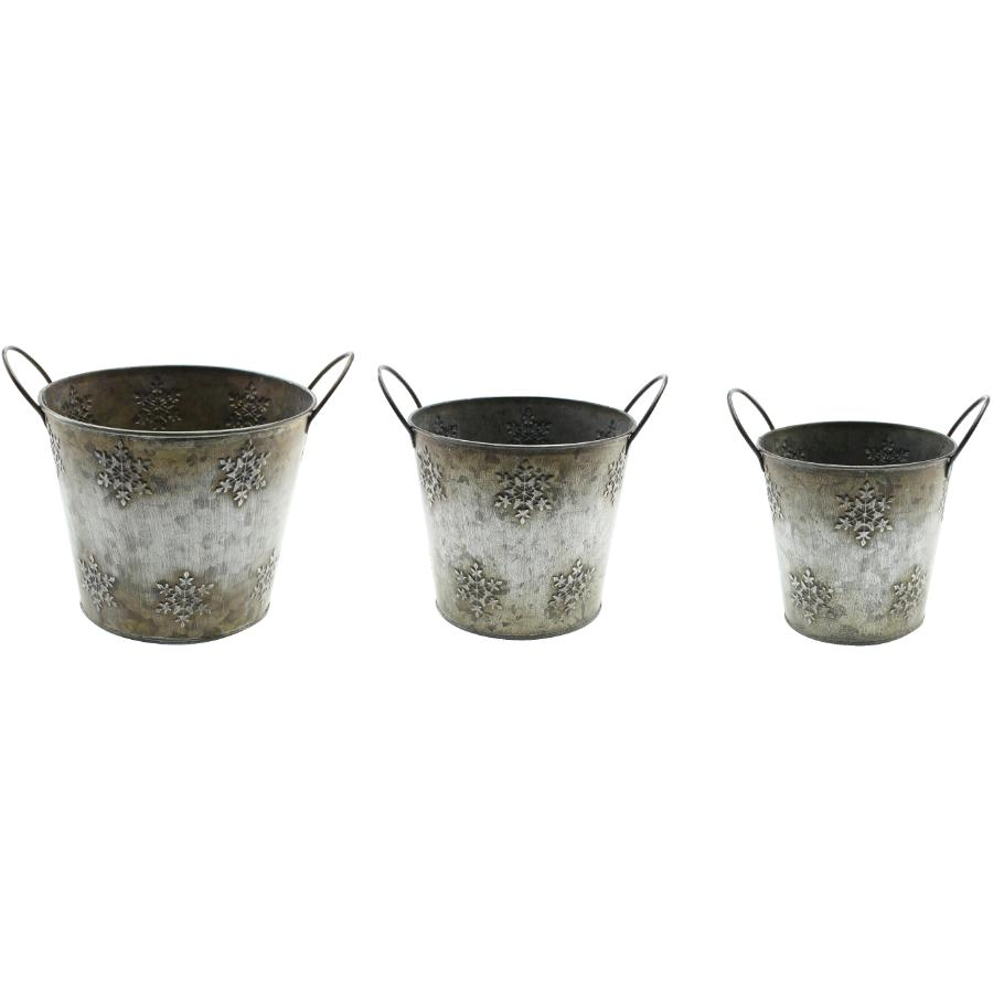 Koppers Home 3 Pack Snowflake Metal Decor Buckets