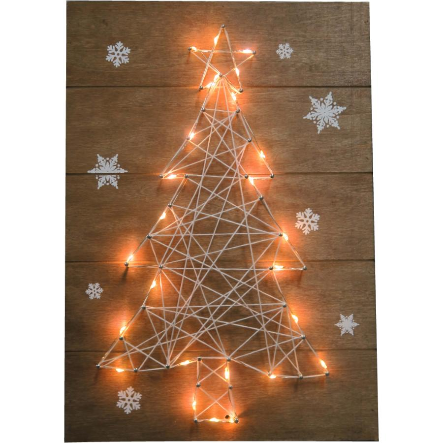 "Instyle Holiday 13.5"" x 9.5"" Yarn Christmas Tree Wall Art, with Lights"