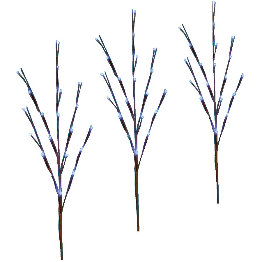 Danson Decor 3 Pack Twig Pathway Markers, with 60 Blue Twinkling LED Lights