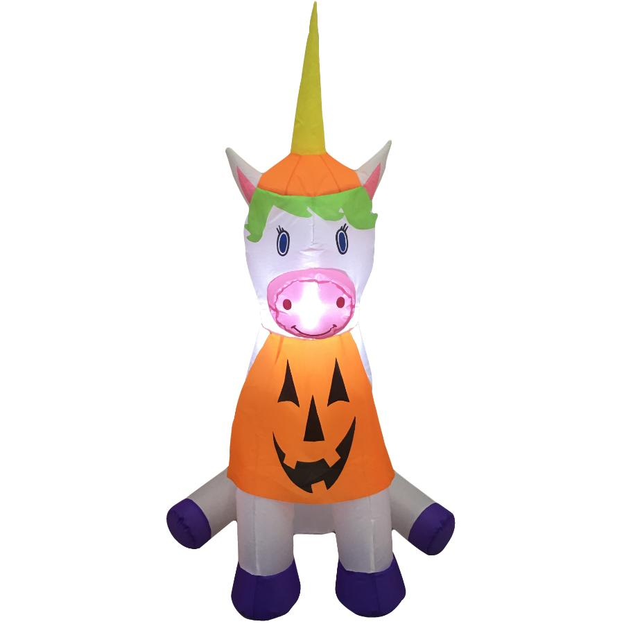 4 Seasons 4' Unicorn Pumpkin Halloween Airblown