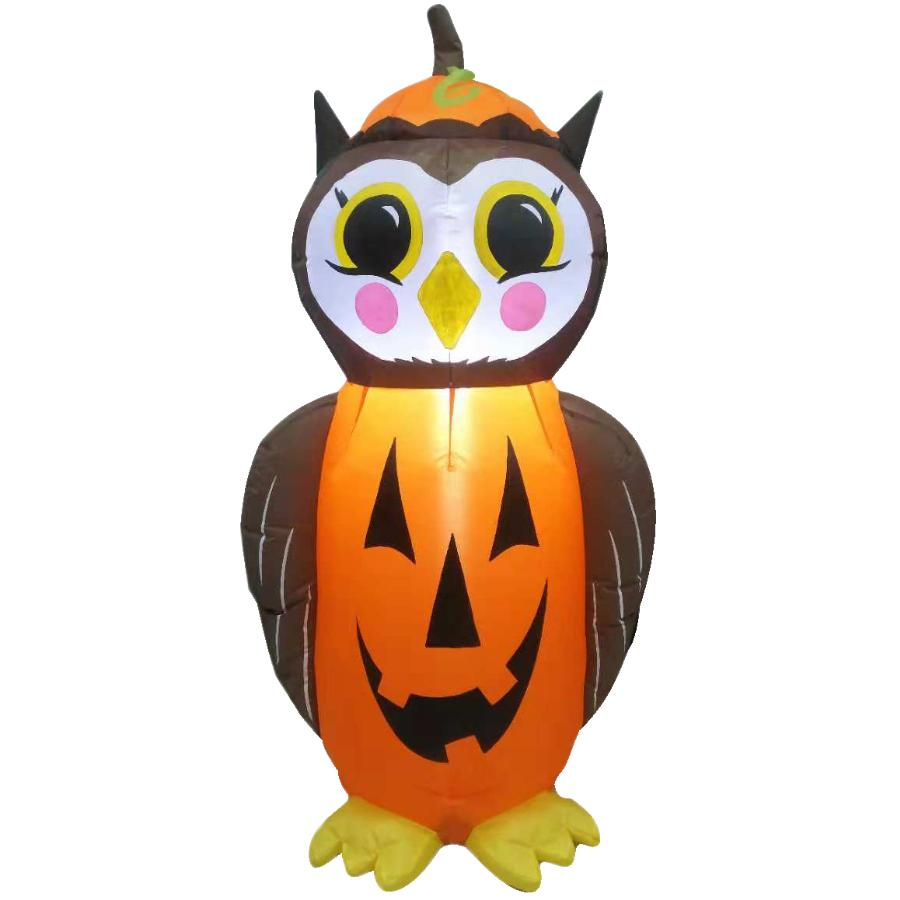 4 Seasons 4' Owl Pumpkin Halloween Airblown