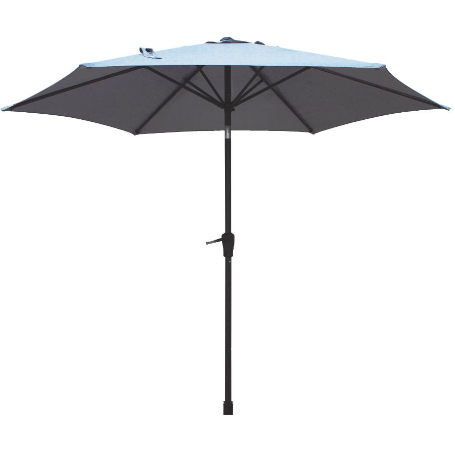Instyle Outdoor 9' Sharkskin Grey Tilt and Crank Market Umbrella