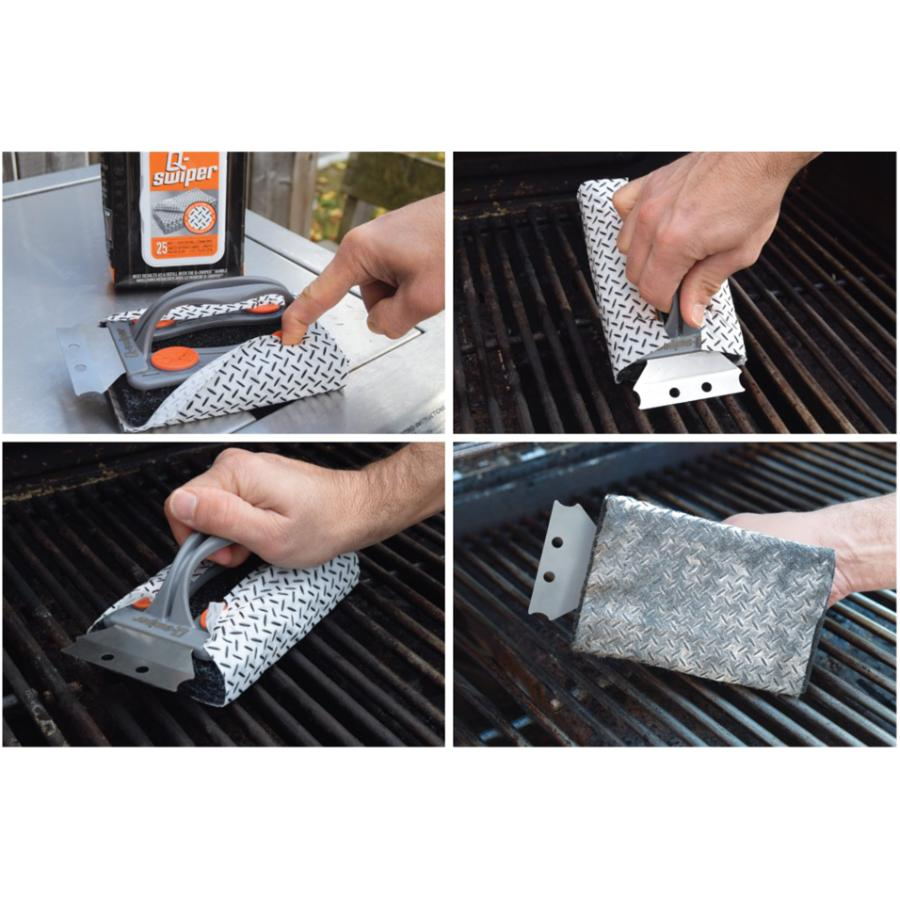 Proud Grill: Q-Swiper Bristle-Less Grill Scrubber, with Wipes