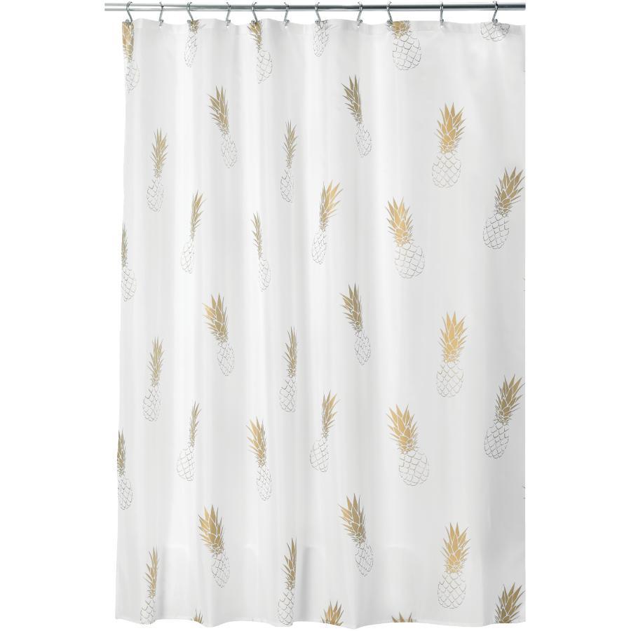"Interdesign 72"" x 72"" Gold Pineapple Polyester Shower Curtain"