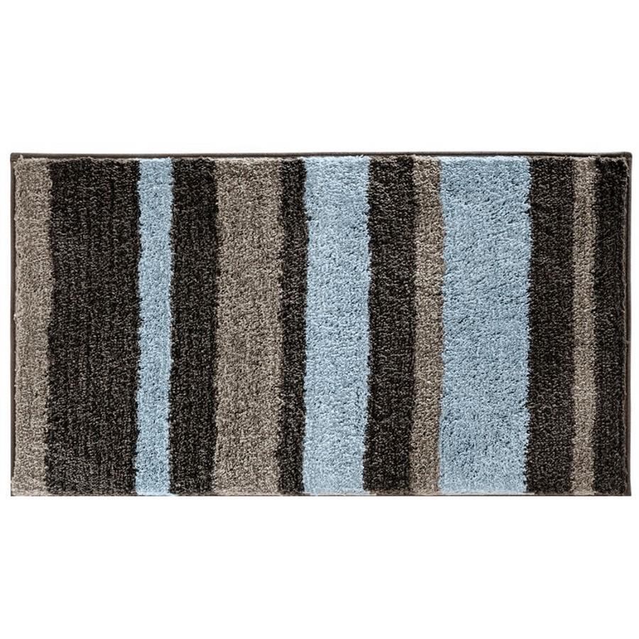 "Interdesign 21"" x 34"" Stripz Mocha Grey Microfibre Polyester Bath Mat"
