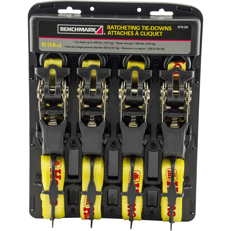 "Benchmark: 4 Pack 1"" x 15' 1200lb Capacity Rubber Ratchet Straps"
