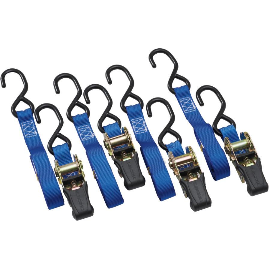 "Erickson Manufacturing 4 Pack 1200lb 1"" x 10' Rubber Ratchet Straps"